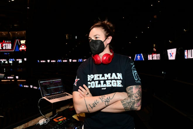 "Shawna ""DJ Shawna"" Nicols helped host the NBA All Star Game on March 7, 2021 at State Farm Arena in Atlanta, Georgia."