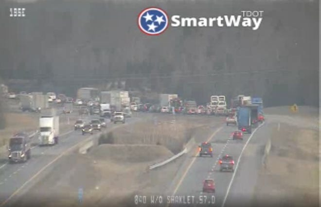 Interstate 840 eastbound could be seen backing up on Wednesday morning after a single-vehicle crash closed it down.