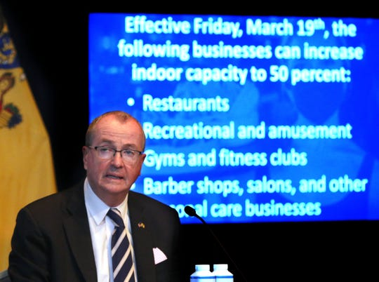 New Jersey Governor Phil Murphy announces an increase in indoor capacities for businesses during his COVID-19 briefing at the War Memorial in Trenton Tuesday, March 10, 2021.