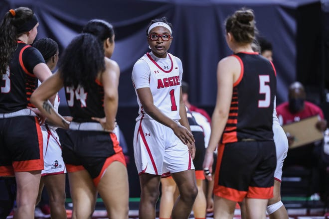 Shania Harper (1) is pictured as the New Mexico State Women's basketball team faces off against Seattle University at The Orleans Arena in the quarterfinals of the WAC Tournament in Las Vegas on Wednesday, March 10, 2021.