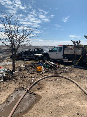 Eddy County fire crews and the Carlsbad Fire Department responded to a fire call south of Carlsbad on the morning of March 10, 2020.