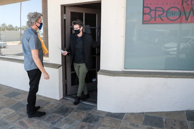 Palm Springs Councilmember Geoff Kors speaks with Read Brown, owner of Read Brown Hair Salon, about the Palm Springs COVID-19 Small Business Financial Aid Program on Tuesday, March 9, 2021.