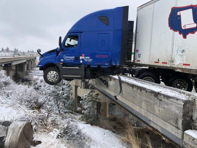 A big rig through a guardrail on Interstate 80 near Verdi has slowed traffic.