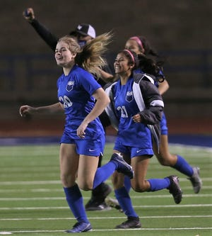 The San Angelo Lake View High School girls soccer team celebrates after beating Lubbock Estacado in the home finale Tuesday, March 2, 2021 at San Angelo Stadium.