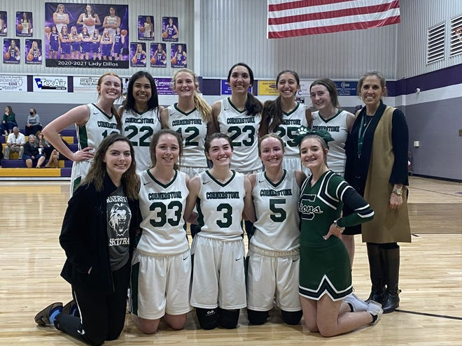 The San Angelo Cornerstone Christian girls basketball team won a TAPPS Class 1A state semifinal game 40-31 over Fredericksburg Heritage Tuesday, March 9, 2021, in San Saba.
