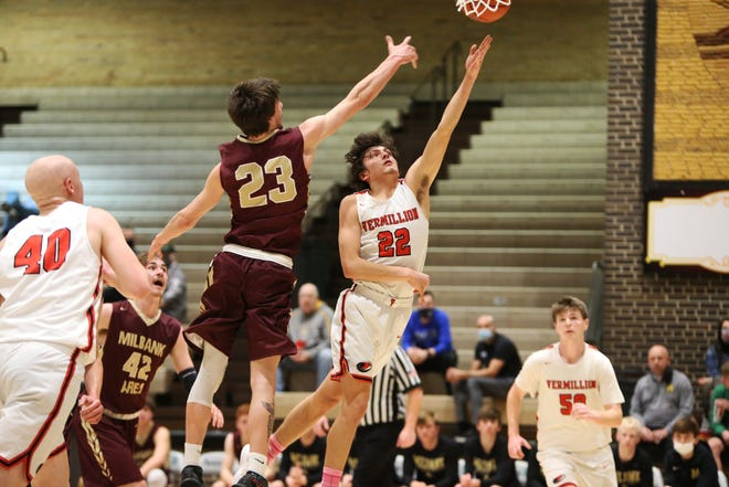 #16 Millbank took on #1 Vermillion at The World's Only Corn Palace in Mitchell, SD Tuesday night during SoDak 16 action.  Vermillion won 67-37 to punch their ticket to the state tournament.