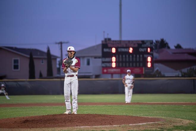 El Dorado's Dominick Castillo stands on the mound at the start of the second inning. Canutillo High School narrowly defeated El Dorado 1-0 at El Dorado High School on March 10, 2021.