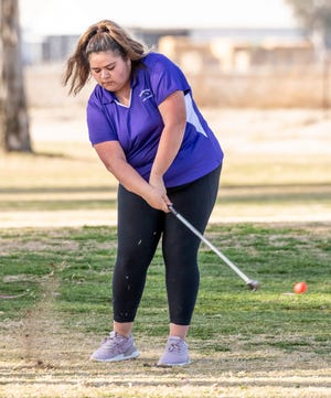 Mission Oak's Alondra Carreno takes a fairway shot on the 3rd hole Tuesday, March 9, 2021 against Redwood in girls golf.