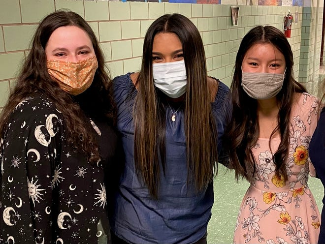 Abigail Martin, Maya Arredondo and Sandra Le, left to right, were among Rider High School choir students who earned a superior rating in 2021 solo and ensemble performances.