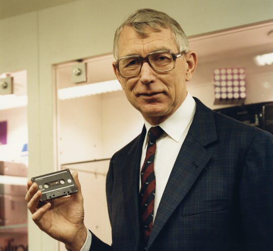 Lou Ottens, who oversaw the creation of the compact cassette tape, when he washead of Philips Electronics' product development department, with the first audiocassette.