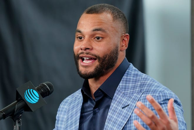 Dak Prescott spoke in public Wednesday for the first time since his season-ending injury in October.