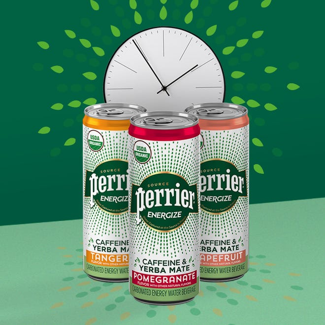 The carbonated water beveragePerrier Energize comes in three flavors:grapefruit, pomegranate and tangerine.