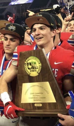 Jackson Coker, lifting the UIL State championship trophy in 2019, died Wednesday in a car accident. He was one of the top offensive players on the team. He currently was studying at Columbia University and was scheduled to be part of that team this fall.