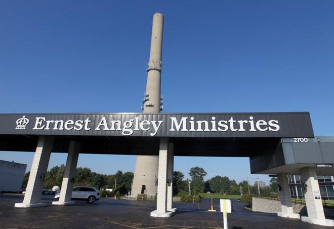 Ernest Angley's Grace Cathedral in Cuyahoga Falls in 2014. Angley faced criticism for the use of unpaid church volunteers as employees of a restaurant at the church complex.