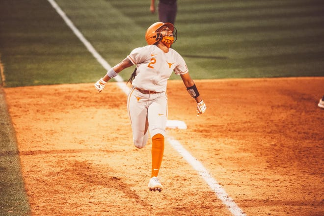 Texas second baseman Janae Jefferson celebrates a home run that she hit against Texas A&M-Corpus Christi on Wednesday night. Jefferson is tied for eighth place in UT's career hits list, but of her 211 career hits, her fourth-inning homer was the first of her career.
