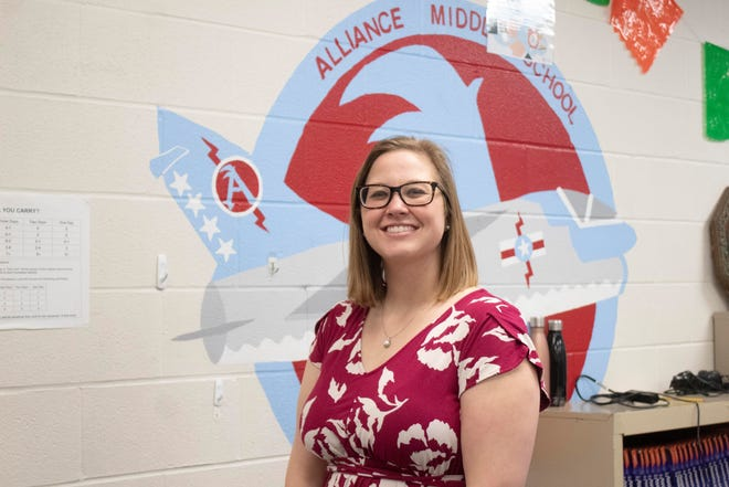 Kelcey Mast, a Spanish teacher at Alliance Middle School, is The Alliance Review's Stark Federal Credit Union Teacher of the Month for March.