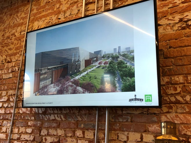 This rendering during a slideshow presentation Thursday shows a rendering of the new James Brown Arena as it would look when looking along Seventh Street in Augusta.