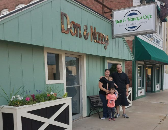 Pictured are Elizabeth and Jesse Kidd with their children. They are the owners of Don and Nancy's Cafe. Jesse and Elizabeth named their café after Jesse's grandparents Don and Nancy Carrell.
