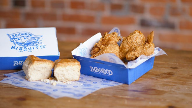 Fried chicken and biscuits from Boxwood Biscuit Co., which opens March 12 in the Short North