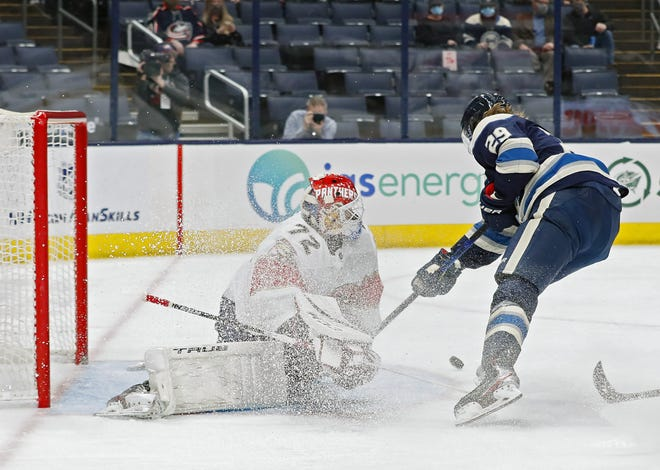 Blue Jackets forward Patrik Laine put six shots on goal in Tuesday's loss to Florida on Tuesday but was unable to get any past goaltender Sergei Bobrovsky, extending Laine's scoreless streak to seven games.