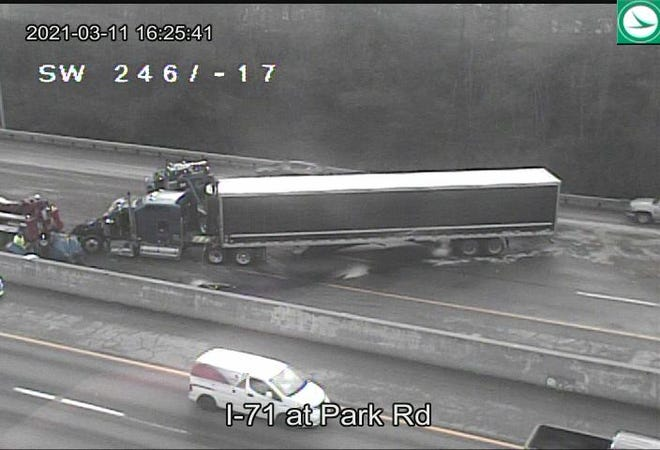 Two tractor-trailers (one seen here from a Ohio Department of Transportation OHGO camera)  and multiple other vehicles were involved in a crash Thursday afternoon that resulted in multiple injuries and temporarily closed the southbound lanes of I-71 near Park Road on Columbus' North Side.