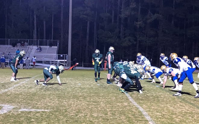 Eastern Randolph's offense lines up for a play against Jordan-Matthews in a PAC-7 game. The two schools will be in different conferences beginning in the fall. [Contributed photo]