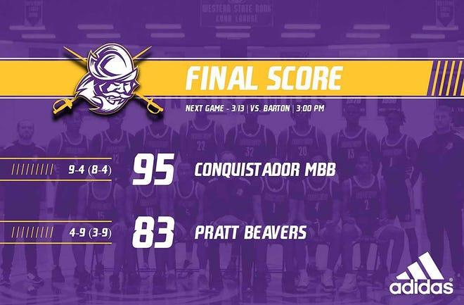 Conqs men's basketball down Pratt Beavers 95-83 Wednesday night.