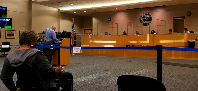 John Peters, acting city manager of Deltona, addresses the City Commission about expanding policies and procedures related to decorum to other city boards during a workshop on Monday, March 8, 2021.