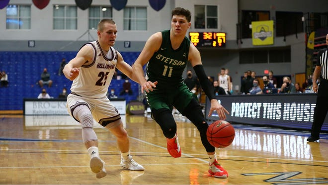 Chase Johnston (11) averaged 14.1 points per game, shooting 39 percent from 3-point range, as a freshman for Stetson in the 2020-21 season.
