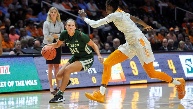 Sophomore guard Maddie Novak scored 20 points for Stetson, but the Hatters fell, 50-47, in overtime to Lipscomb in the ASUN Conference Tournament on Thursday, March 11, 2021, in Kennesaw, georgia.