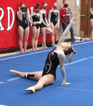 Coldwater's McKenna Hantz finishes her floor routine with a flourish Wednesday versus Parma Western.