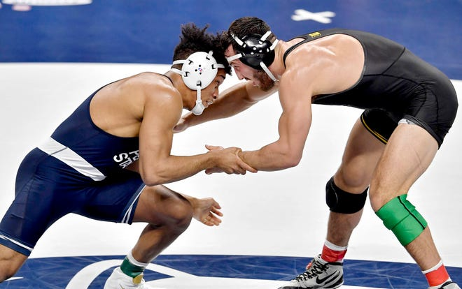 Penn State's Carter Starocci faces Iowa's Michael Kemerer in the 174-pound championship bout at the Big Ten Championships at the Bryce Jordan Center in State College on Sunday. Kemerer won the match.