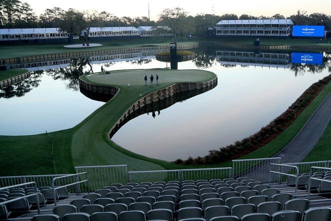 A view of the 17th green following the cancellation of the The Players Championship and consecutive PGA Tour events through April 5, 2020, due to the COVID-19 pandemic on March 13, 2020, in Ponte Vedra Beach, Fla.