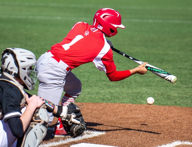 Glen Rose's Braulio Silva lays down a bunt during action with Grandview on Saturday.