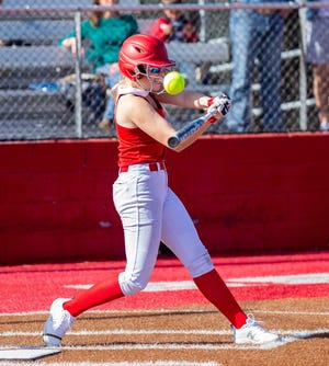 Glen Rose's Kaycee Bock, seen here in a scrimmage against Grandview earlier in the year,  went 9-for-14 with two doubles, a triple and six RBIs in the tournament in Mineral Wells.
