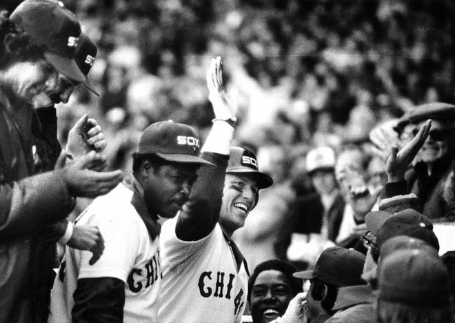 Carlton Fisk returns to a joyous Chicago White Sox dugout after his grand slam on April 14, 1981.