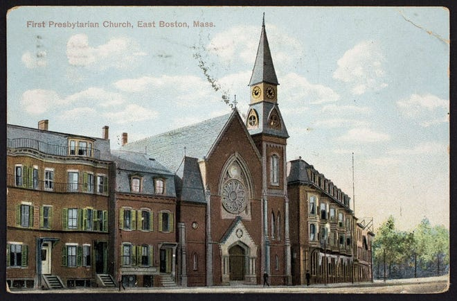 This is what the First Presbyterian Church in East Boston looked like on March 18, 1909. The church is located at the corner of London and Meridian streets.