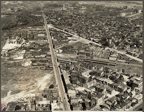 This aerial view is of Dorchester Avenue and Old Colony Avenue in 1925. Though the neighborhood has gone through some very obvious physical changes, there are many cultural changes that have taken place as well.