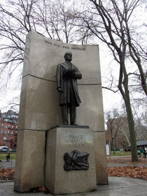 This statue of David Ignatius Walsh is located along the Charles River Esplanade. Walsh was the 46th governor of Massachusetts and a United State senator.