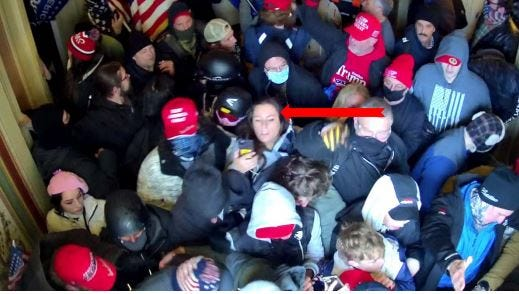 This photo, included in the FBI affidavit that led to Corinne Montoni's arrest, shows the Lakeland woman inside the U.S. Capitol on Jan. 6, an FBI agent reported.