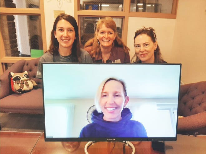 The recent hires to work on the Title V AIM Grant which was recently awarded to OJC be the Department of Education. Back row, from left, Bree-ann Carwin, Shawn Japhet and Melanie Culver. Pictured in the screen below is Julie McClure.