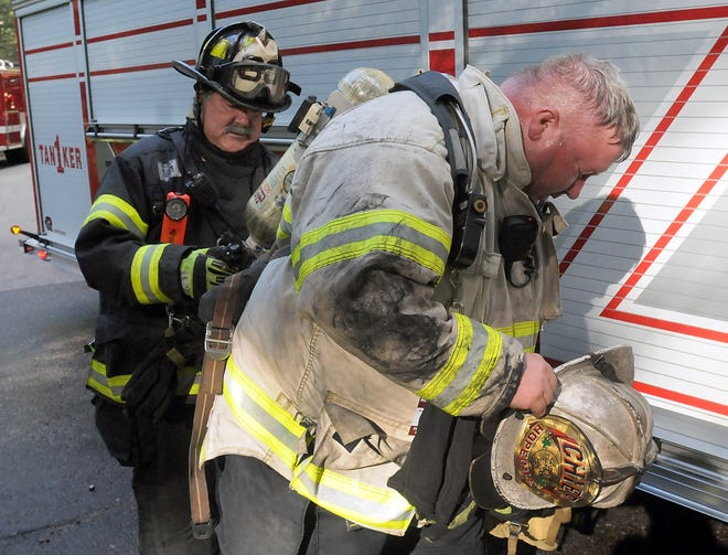 Hopedale Fire Chief Thomas Daige, right.