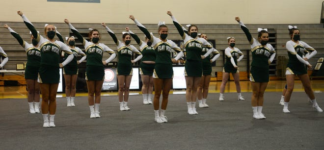 Flat Rock performs in Round 1 of the Huron League Competitive Cheerleading Meet at Flat Rock Wednesday night. The Rams took the title for the first time since 1999.