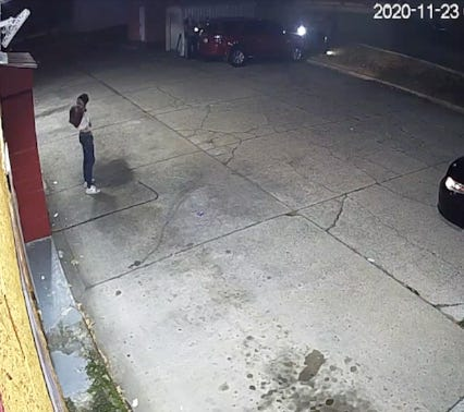 In this screen capture from a security camera, Stavian Rodriguez lifts his shirt moments before dropping a gun on the ground outside a south Oklahoma City convenience store. Police fatally shot him last November after he dropped the gun.