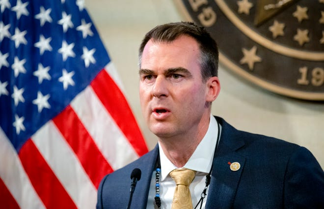Gov. Kevin Stitt speaks during a press conference at the Oklahoma state Capitol in Oklahoma City, Okla. on Friday, Jan. 29, 2021.   [Chris Landsberger/The Oklahoman]
