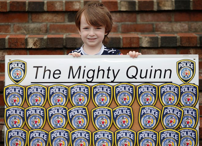Weymouth Police have raised $23,000 selling patches in honor of Quinn Waters, aka The Mighty Quinn, a Weymouth 5-year-old battling brain cancer.