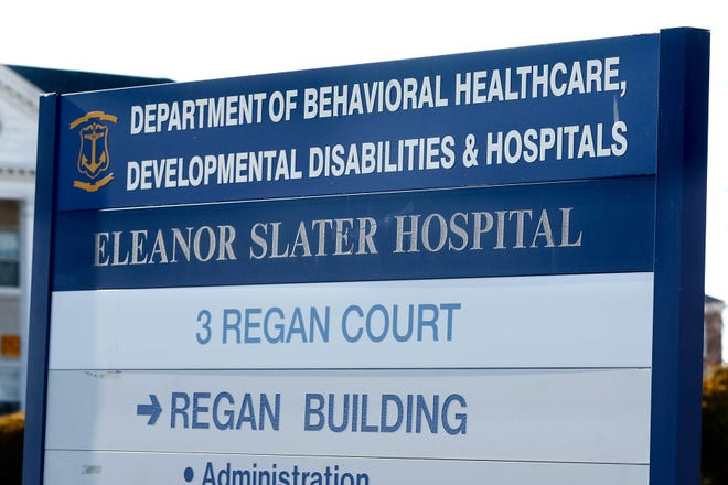 A sign directing motorists at the Cranston campus of Eleanor Slater Hospital.