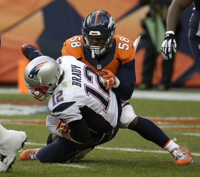 One of the several edge rushers available to the Patriots in free agency this offseason is outside linebacker Von Miller, shown here sacking Tom Brady in the AFC Championship Game on Jan. 24, 2016, in Denver.