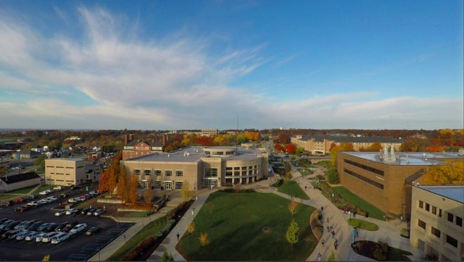 Aerial view of Missouri S&T's campus in the fall. Photo by Terry Barner/Missouri S&T