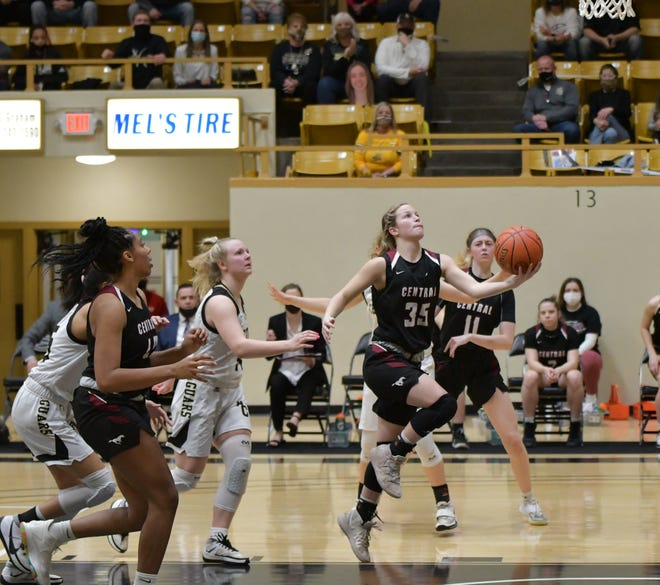 Salina Central's Aubrie Kierscht (35) goes up for a shot during Thursday's Class 5A semifinal against Andover Central at White Auditorium in Emporia.